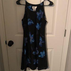 Black and blue flower strap dress